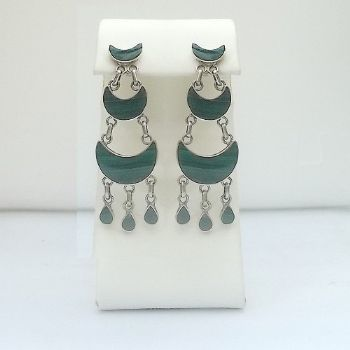 Chilean 3 tier dangle post earrings with Malachite